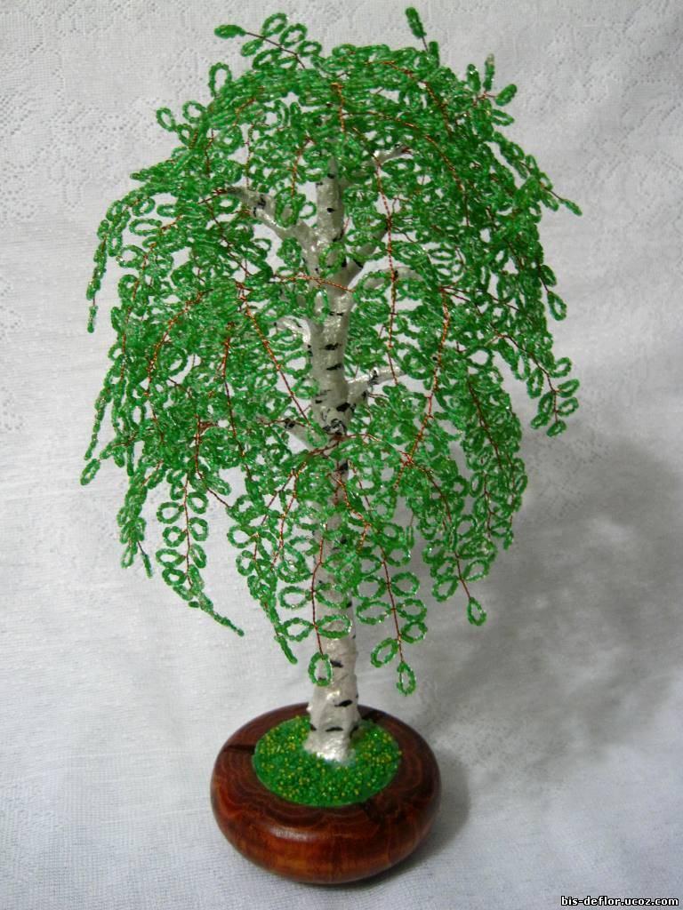 Дерево берёза из бисера